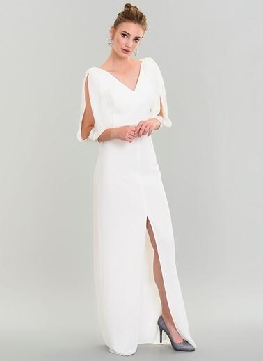 People By Fabrika Kolları Şifon Abiye Elbise Beyaz